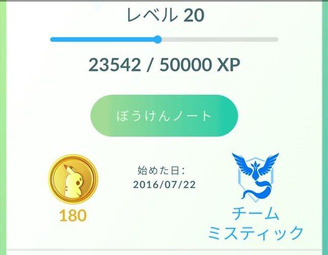『Pokémon GO』(ポケモンGO)でレベル20になった