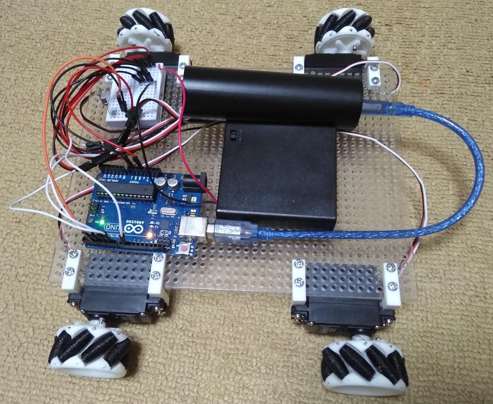 Arduino Uno互換機を使ってメカナムホイールのラジコンカーを作った