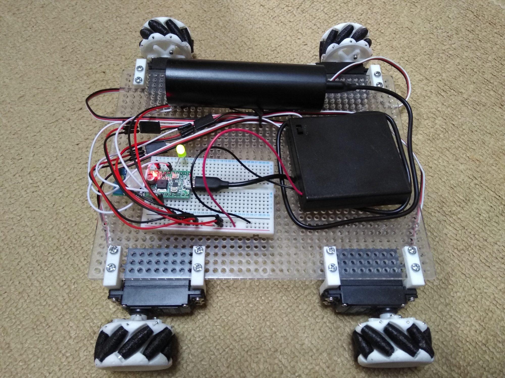 スマホで操作できるメカナムホイールのWi-Fiラジコンカーを作った(ESP-WROOM-02)