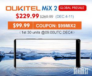 【GearBestセール情報(99ドル)】Oukitel MIX 2の格安セール(スマホ)